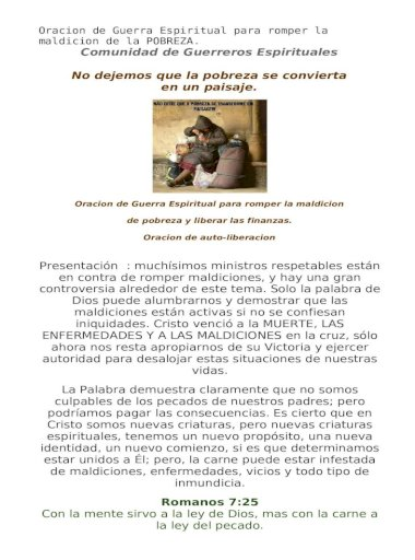 Oracion De Guerra Espiritual Para Romper La Maldicion De La Pobreza