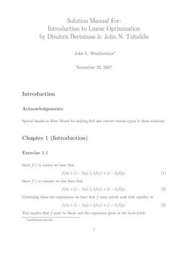 Solution Manual For Introduction To Linear Optimization Manual For Introduction To Linear Optimization By Dimitris Bertsimas John N Tsitsiklis Exercise 1 5 Part A The