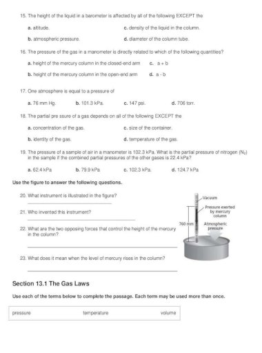 Unit 13 Gas Laws Test Review 13 Gas Laws Test Review Because Gas Particles Are Far Apart There Are No Significant Attractive Or Explain Why R Can Have Different