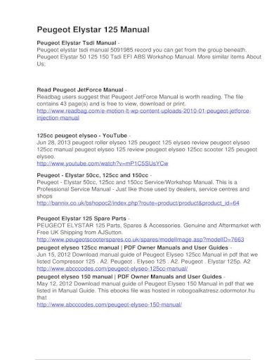 Manual Haynes for 2006 Peugeot Elystar 125 Motors Vehicle Parts ...