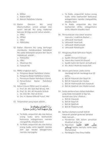 Soal Dan Kunci Jawaban Aswaja Kelas 11 Studi Indonesia