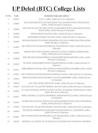lista collegio btc in agra)