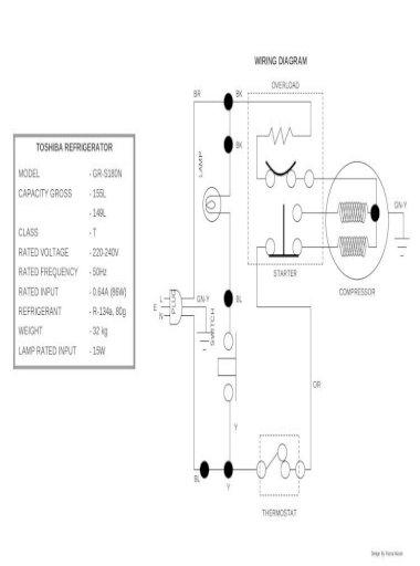 Toshiba Refrigerator Gr S180n Wiring, Refrigerator Wiring Diagram
