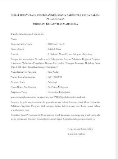 Surat Pernyataan Kesediaan Kerjasama Dari Mitra Usaha Dalam Pelaksanaan