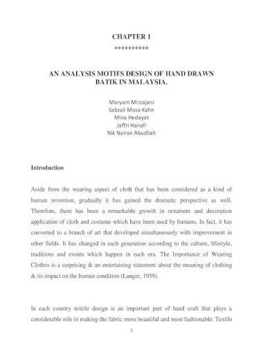 Chapter 1 An Analysis Motifs Design Of Hand Drawn Batik In