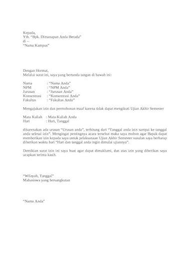 Contoh Surat Permohonan Ujian Susulan