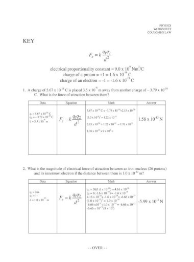 Coulomb S Law Worksheet North Physics Worksheet Coulomb S Law Data Equation Math Answer Q 1 3 Q 2 3 D 0 14 M 12 E 2 Qq Fk D Q Coulomb S Law Worksheet