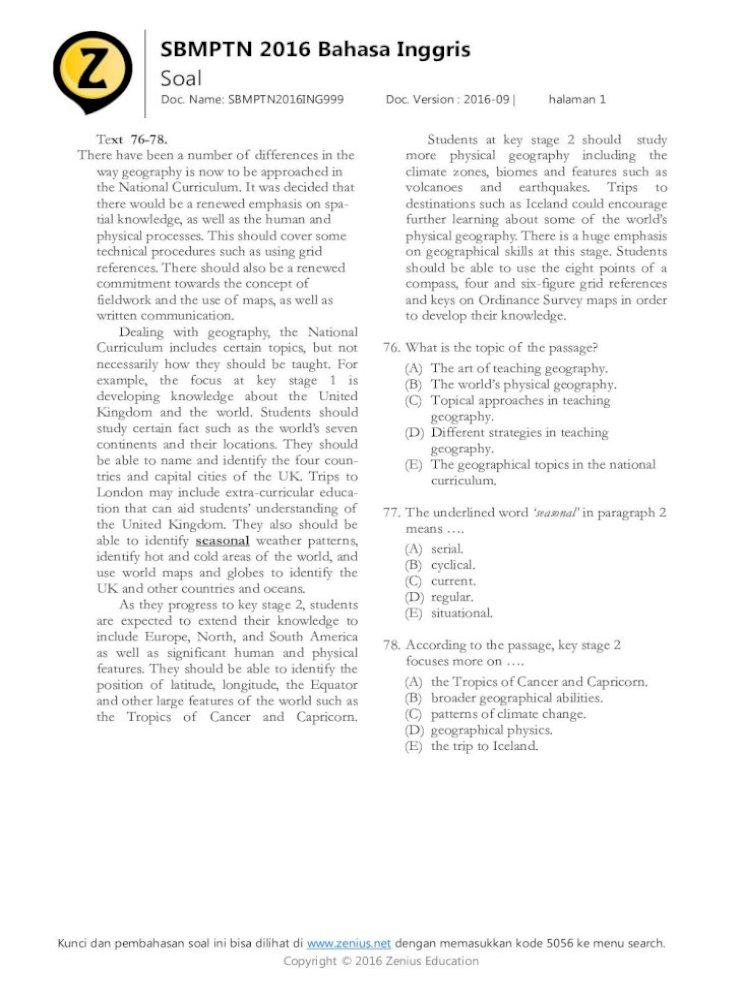 Soal Sbmptn Bahasa Inggris 2016 Dan Pembahasannya Ilmusosial Id