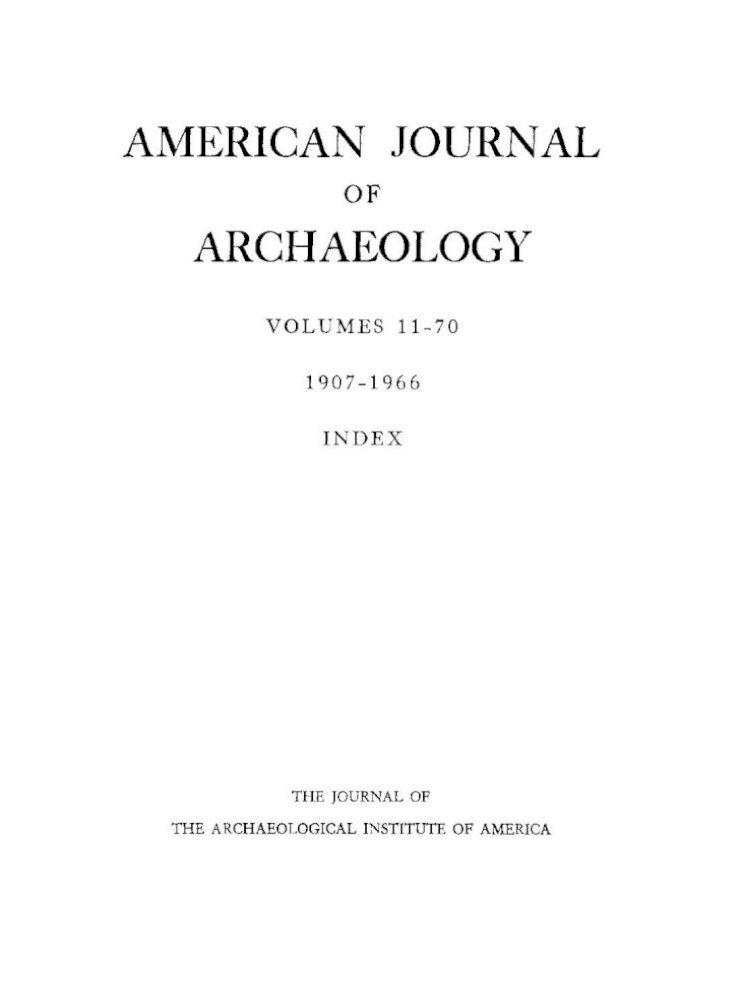Index To Volumes 11 70 1907 1966