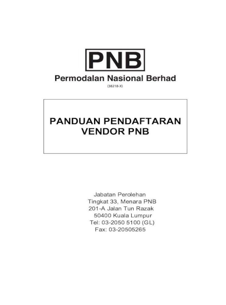 Panduan Pendaftaran Vendor Pnb A 4 Pengambilan Dan Serahan