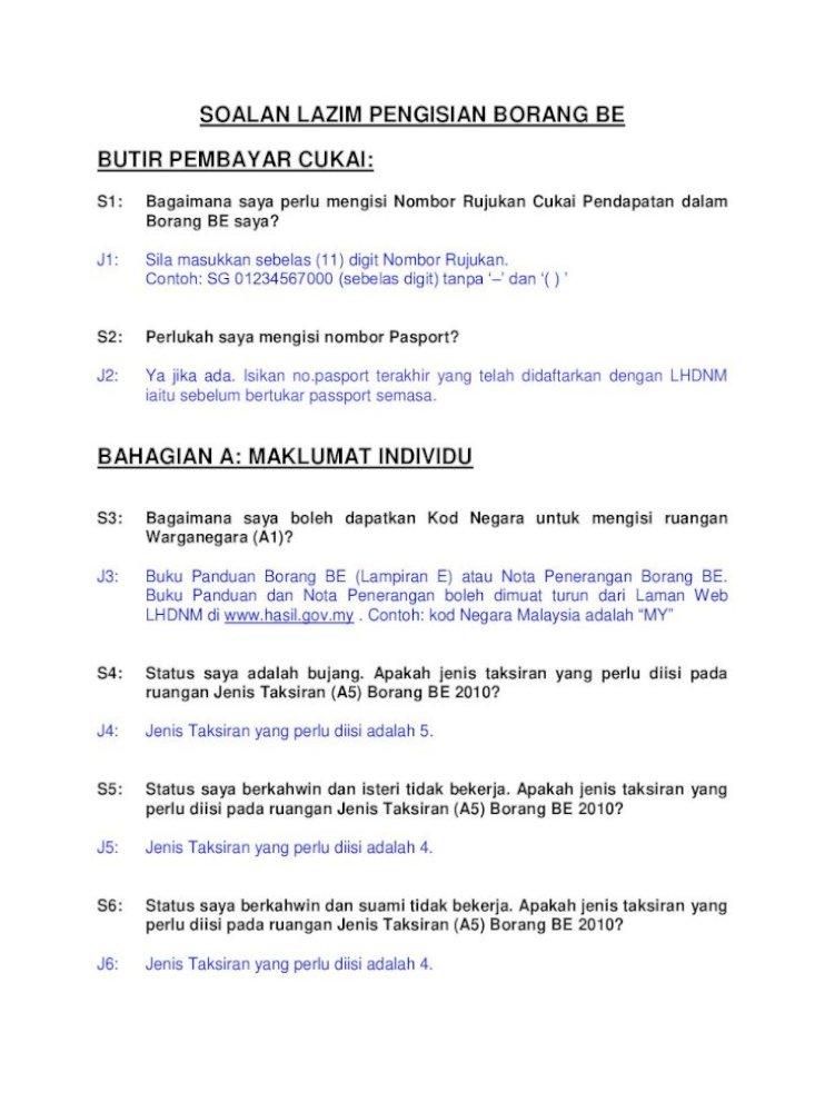Soalan Lazim Pengisian Borang Be Butir Hk 6 Tolakan Cukai Di
