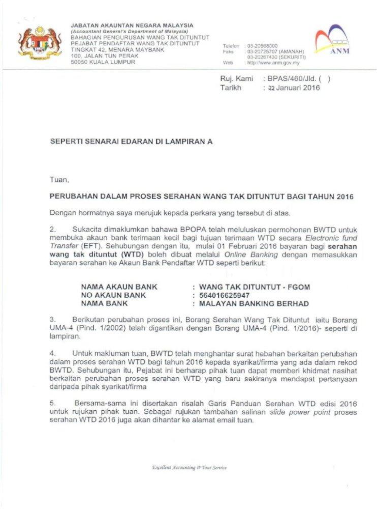 Surat Perubahan Dalam Proses Serahan Wtd 2016