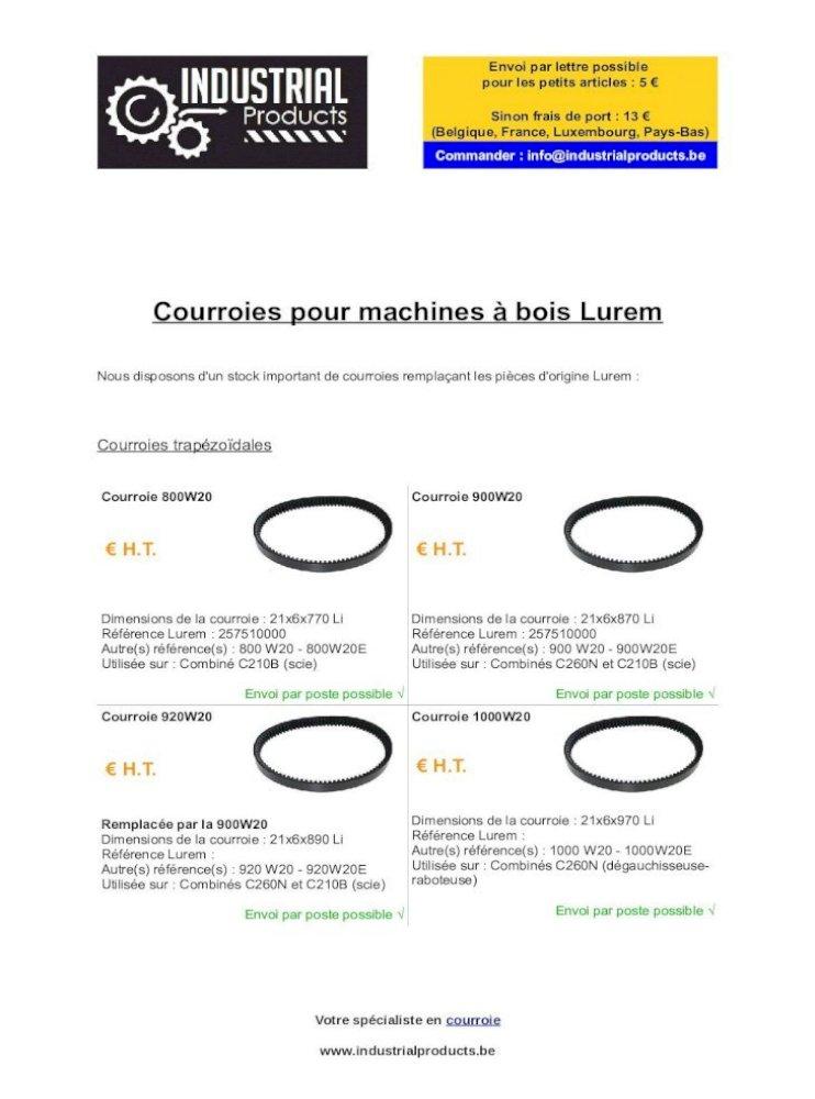 Courroie plate 1030x20 mm pour Lurem Maxi 26