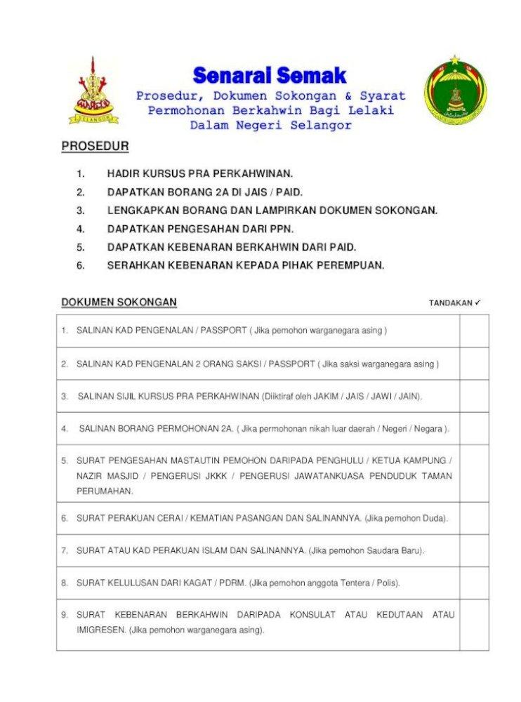 Syarat Saksi Borang Nikah Perempuan Selangor