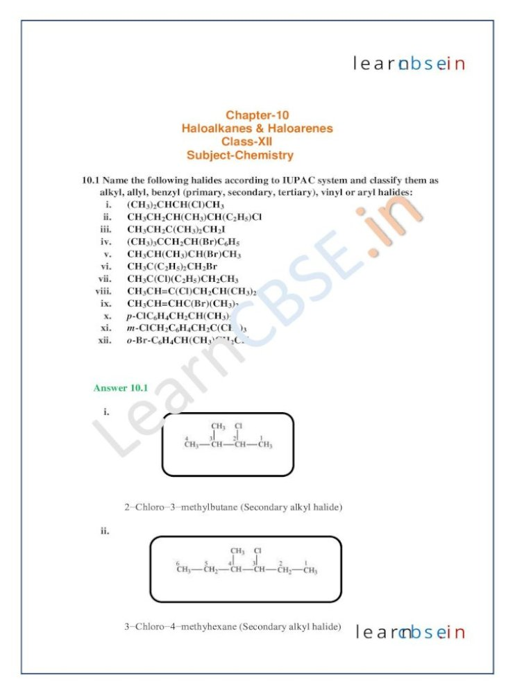 learncbse - CBSE Labs | Free NCERT Solutions Write the structures of the  following organic halogen compounds. i. 2-Chloro-3-methylpentane ii.  p-Bromochlorobenzene iii. 1-Chloro-4-ethylcyclohexane iv.  2-(2-Chlorophenyl)-1-iodooctane
