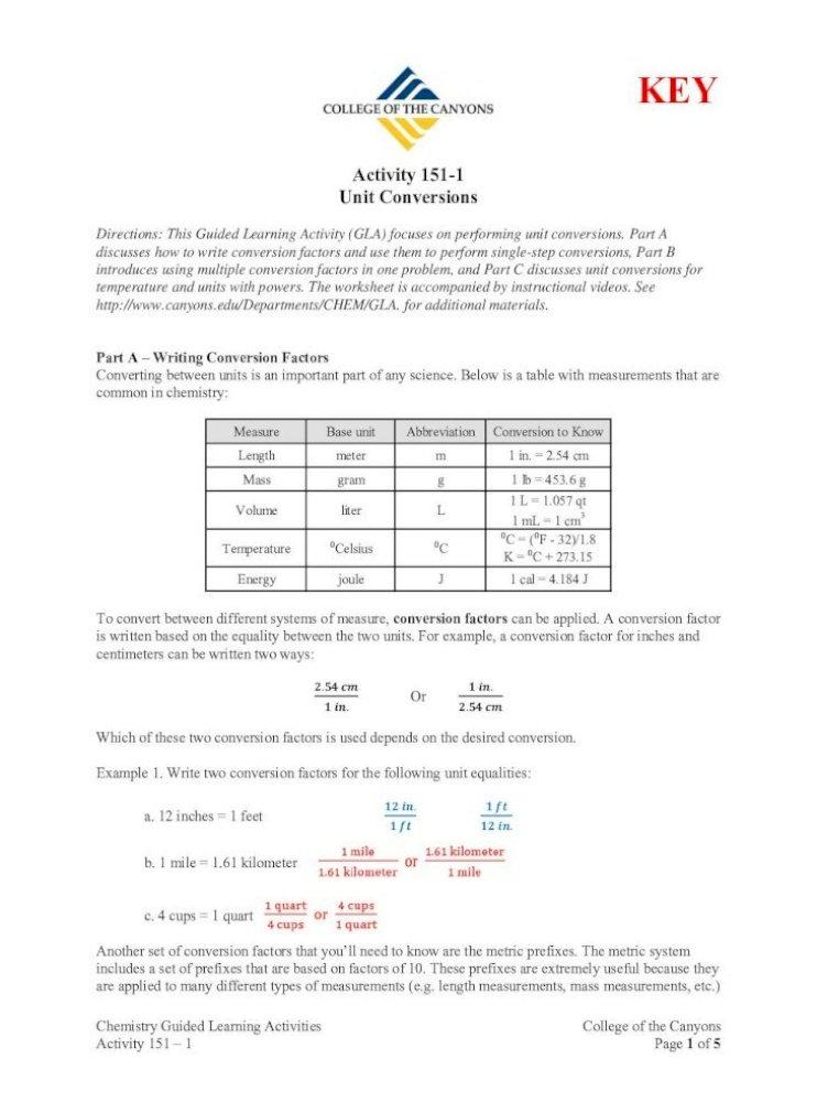 Conversion Factors Worksheet   Dimensional Analysis ...