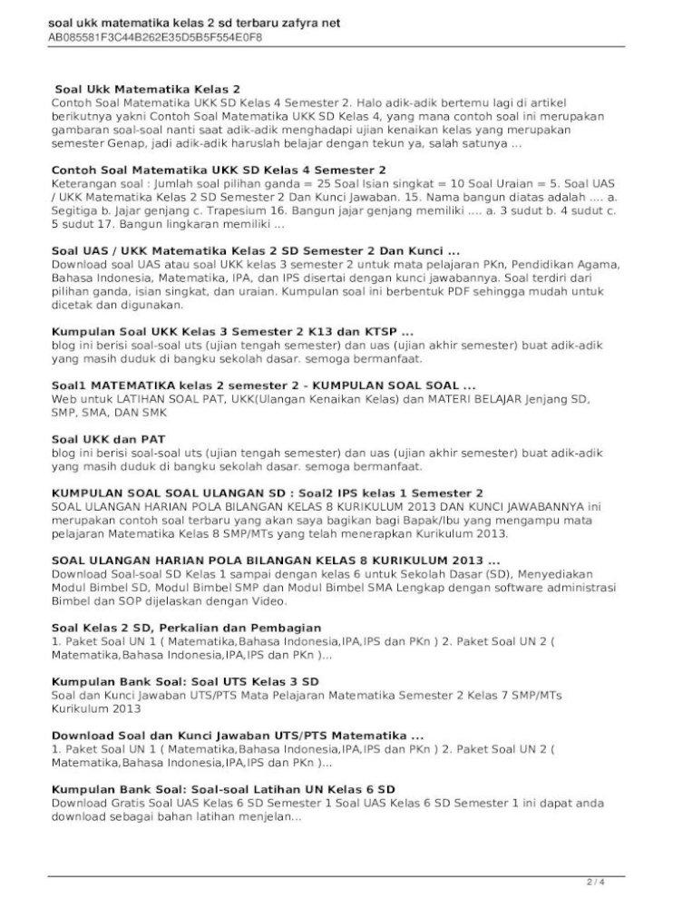 Soal Ukk Matematika Kelas 2 Sd Terbaru Zafyra Download Soal Sd Mi Kelas 1 2 3 4 5 6 Semester I Dan