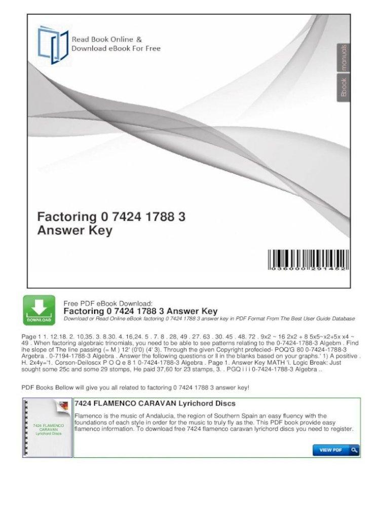 Factoring 0 7424 1788 3 Answer Key 1 Factoring