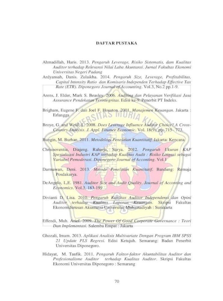 Daftar Pustaka Pada Perusahaan Manufaktur Yang Terdaftar Di