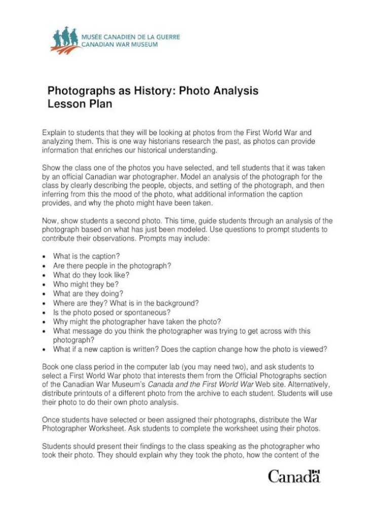 Photographs As History: Photo Analysis Lesson ??Photographs As History:  Photo Analysis Lesson Plan Photo Reflects Their Intended Message, And  Describe The Setting In Which They Took