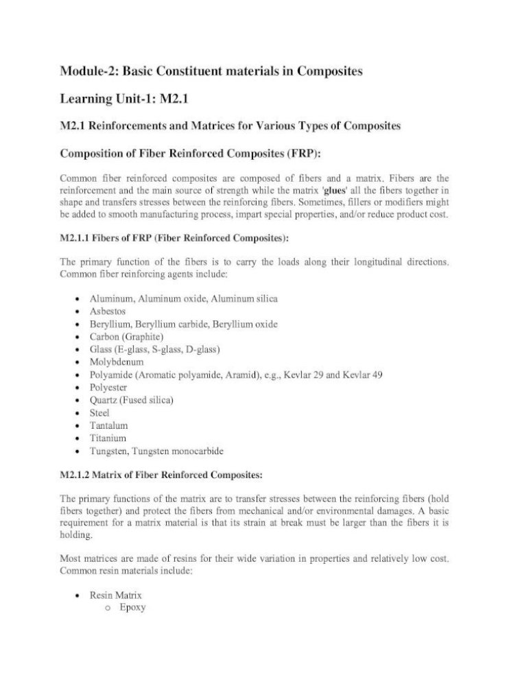 Module 2 Basic Constituent Materials In Composites Nptel Ac In Courses 105108124 Pdf Lecture Notes Lnm2 Pdfmodule 2 Basic Constituent Materials In Composites Learning Unit 1 M2 1 M2 1 Reinforcements And Matrices For Various Types Of Composites