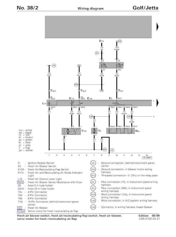 golf/jetta no 38/1 wiring diagram  08/98 usa51020421