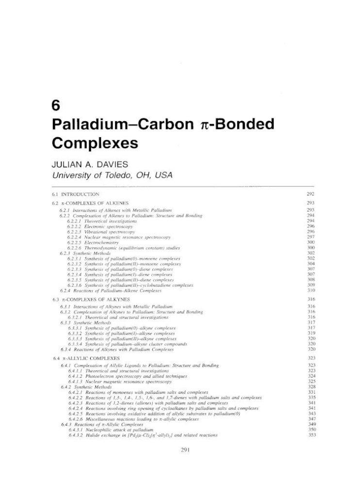 Comprehensive Organometallic Chemistry Ii Palladiumcarbon π Bonded Complexes